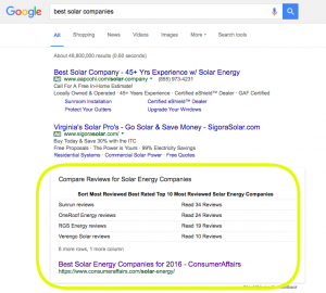 Google search for best solar companies